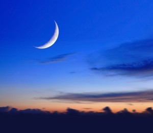 + crescent moon in sunset 11875595_s