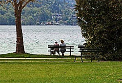 Peaceful park bench