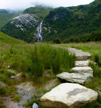 stone steps to waterfall